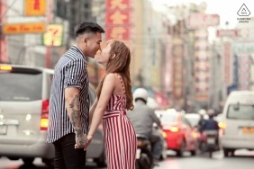 Thailand PreWedding Photography | Lovely couple in Bangkok busy street