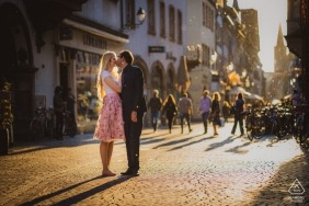 Strasbourg pre wedding shoot with couple and backlight in the middle of the street