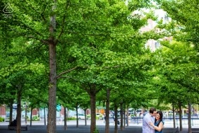 Hoboken, New Jersey engagement photo session with the green trees