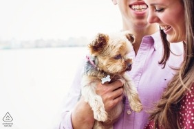 Hoboken, New Jersey Engagement session couple with small dog