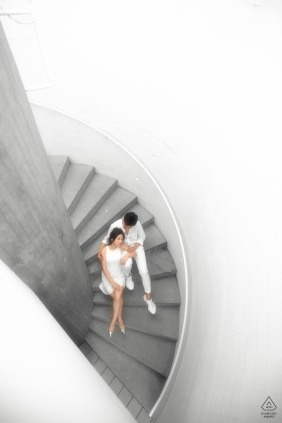 Beijing Pre-Wedding Engaged Portrait Session on Stairs