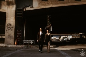 Downtown Los Angeles, California Engagement Photos | Crossing Couple in the Streets