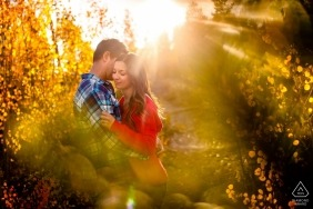 Breckenridge, CO Engaged Couple Portrait Session | The sun glaring through a mix of golden aspen leaves & fall colored foliage on top of Gold Hill Trail.
