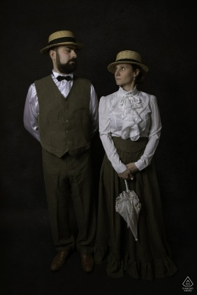Engagement Photographer for Nancy (France) - Image contains: couple, portrait, parasol, 1800's apparel, studio