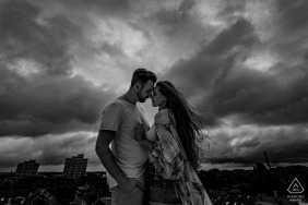 Engagement Portrait from Dortmund - Image contains: couple, face-to-face, evening, sky, black and white