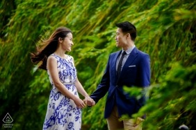 Engagement Photographer for Botanical garden, Chicago - Portrait of Couple walking