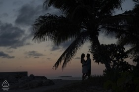 Engagement Photographer for Fort Zach Florida - Image contains: couple, portrait, silhouette, dusk, palm, trees