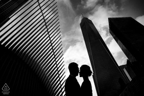 Engagement Photos from world trade center - NYC Couple Silhouette