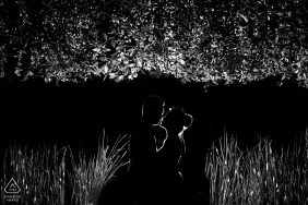 Engagement Photography for Vietnam Da Nang - Image contains: silhouette, black and white, nature, grasses