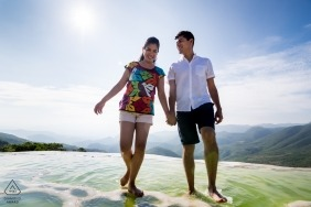 Engagement Photography for Hierve el Agua, Oaxaca, Mexico - Walking through the natural sulfur springs of Hierve el Agua Oaxaca.