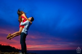 Engagement Photography for Valencia - Portrait contains: sunset, colorful, couple, sky, lift