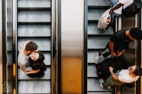 Engagement Portrait - Couple kissing in the escalator of Toulouse in France