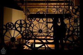 Engagement Photos from Koekbouw Veghel, The Netherlands - Silhouette of an engaged couple in a former compound feed company