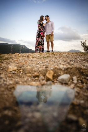 Engagement Photography for mersin turkey - a broken glass reflection on the bride
