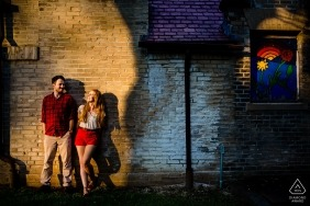 Engagement Photographer for Philadelphia, Pennsylvania - Tyler Arboretum - Photographer said: I just saw the harsh shadows and told them to hang out in it.