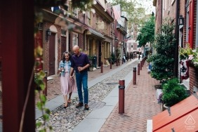 The Oldest Street in Philadelphia - Couple walking through the historic district in Philly during engagement portrait session