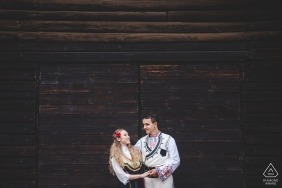 Borovets Bulgaria traditional engagement portraits of a couple