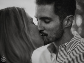 Wolfeboro, NH Engagement Photographer: Tight, Black and White Portrait of a Couple Kissing