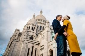 Montmartre, Paris, France Engagement Photographer: Couple in front of Basilique du Sacré Cœur