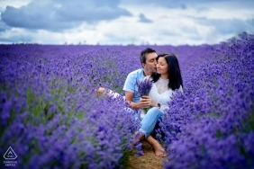 Engagement portraits from a London, UK lavender field