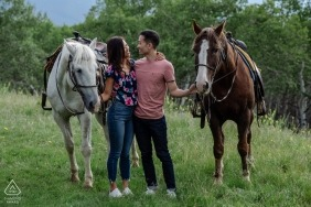 Jasper National Park, AB, Canada Engagement Photography | A couple with Love for the horses.