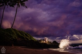 Wailea, Maui, Hawaii Sunset engagement shoot with crashing waves