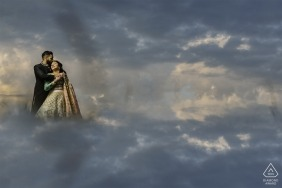 Manassas, VA Pre Wedding Engagement Shoot up in the clouds