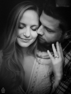 UNC Chapel Hill B&W close up w/ ring - engaged couple portrait session photography