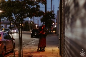 Night session in Downtown LA — Engagement portraits for this evening loving couple