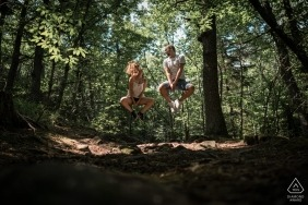 Alsace, France Couple Portrait Session in the Trees - Hikers on a trail, Jump !