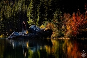 Frisco, Colorado Fall reflection engagement portraits on the lake