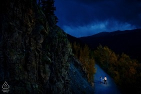 Breckenridge, CO Engagement Shoot in the Mountains — Late night stroll