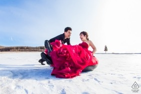 Fujian China Formal Engagement Portrait Session in the Snow