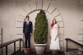 Columbia University engagement session - Portrait of pre-wedding couple