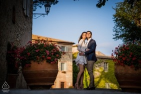 Borgo San Felice, Siena engagement session with a sunset and a stunning background