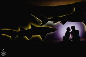 National Aquarium, Baltimore, MD silhouette couple portrait.