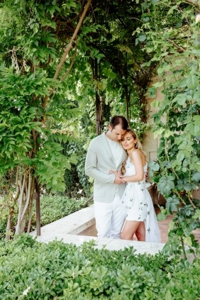 France Provence engagement session with lush, green plants in verticle