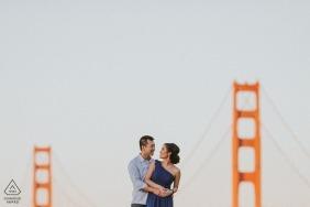 San Francisco engagement portrait with the Golden Gate Bridge.