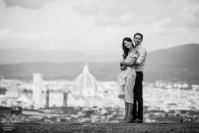 Pre Wedding in Florence - portrait of a couple in Piazzale Michelangelo