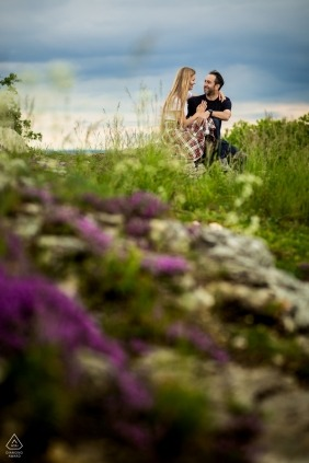 Czech Republic engagement photo session - Brno couple posing for portraits in a calm place