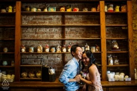 Los Gatos CA Couple Portrait Session - Joy at the coffee house