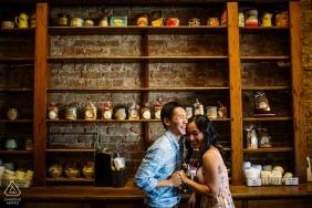 Séance de portrait de couple Los Gatos, Californie - Joie au café