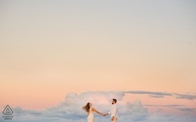 Alagoas, Brazil Engagement Photography - Image contains:pastel, sky, clouds, flying, floating
