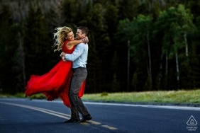 Rocky Mountain National Park, CO -  Street swing engagement portrait session