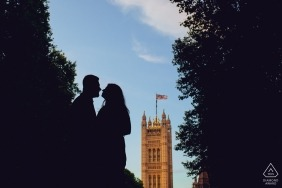 Rio Grande do Sul Engagement Session Photography - Portrait contains: silhouette, trees, blue sky, buildings, city