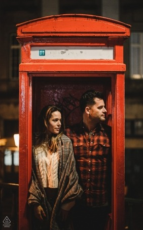 Porto, PT Engagement Couple Session - Image contains: red, phone, booth, vintage, telephone, payphone
