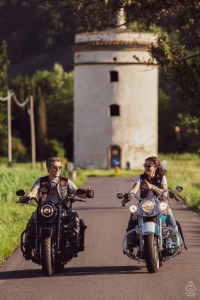 Lucca, Toscana Engagement Portrait Session - Image contains: motorcycle, harley, davidson, bikers, bikes