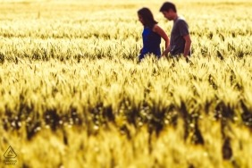 Rheinland-Pfalz, Germany Couple walking on the field - Engagement Photography - Portrait contains: grass, focus, sunlight