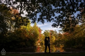 Elm Park, Worcester, Massachusetts Engagement Couple Photography - Portrait contains: Silhouette with foliage