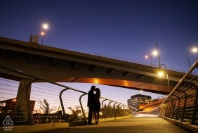 North Point Park, Cambridge, Massachusetts Engagement Photography Session - Image contains: Silhouette of couple kissing at twilight